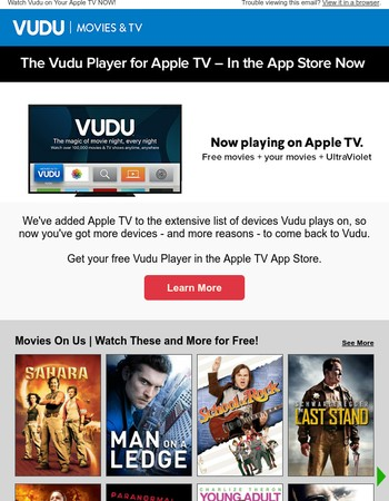 Now watch free movies on Apple TV with Vudu!