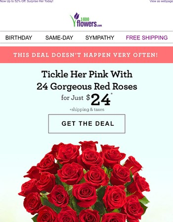Don't Miss 24 Red Roses for Just $24!