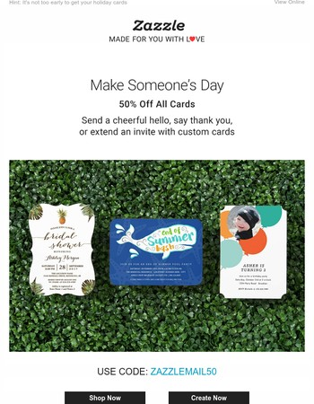 50% Off Cards of All Kinds