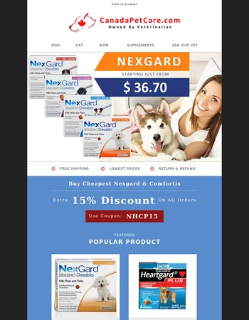 Today Only! Nexgard Only @36.70 + 15% Extra Discount & Free Shipping