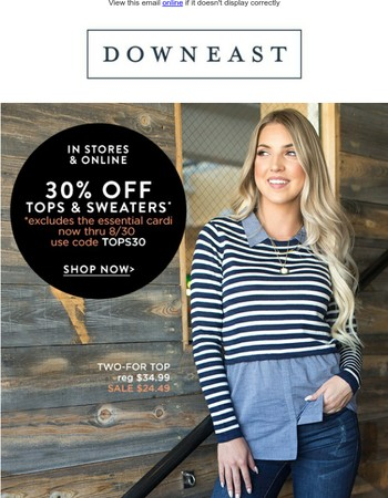 Fall in love with 30% OFF Sweaters & Tops!