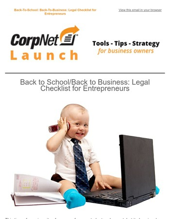Back To School - Back to Business: Legal Checklist For Entrepreneurs