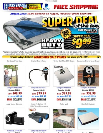 End of Summer $9.99 Tarp Blowout Sale!