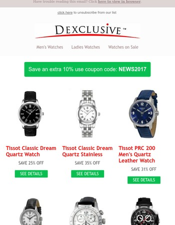 July Save and extra 10% on Tissot Watches