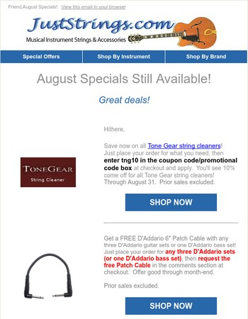 JustStrings.com -- August Specials!