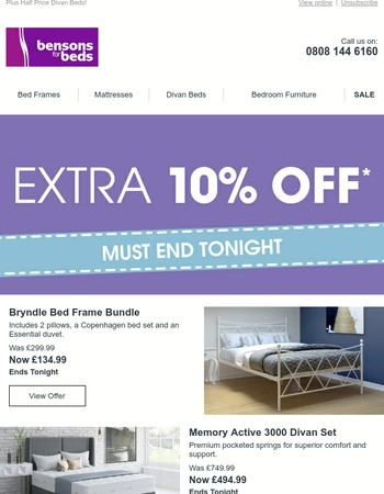 10% of ALL Beds and Mattresses - Ends Tonight!