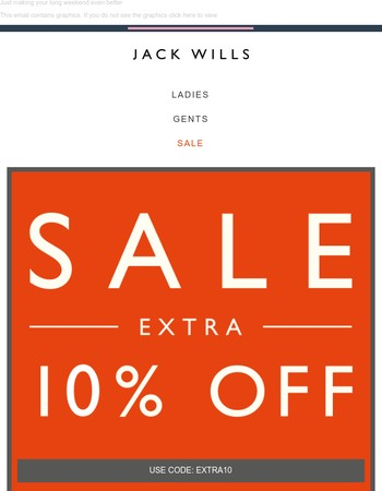Bank Holiday special: extra 10% off Sale ENDS TONIGHT
