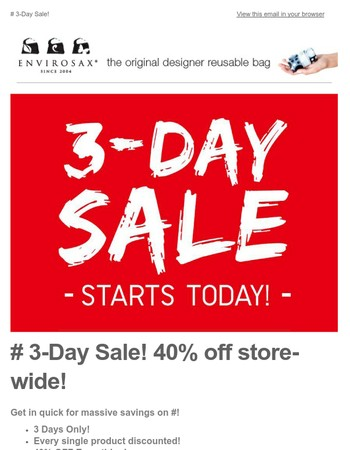 Envirosax 3 Day Sale - 40% off everything!
