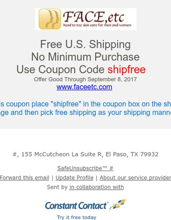 Free U.S. Shipping - No Minimum