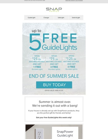 Have you checked out our sale? Free GuideLights with every purchase over $25