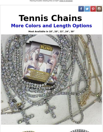 More Sizing and Color Options on Tennis Chains