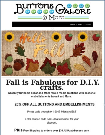 Spectacular Fall Embellishments...On Sale (Resending - Code Correction)