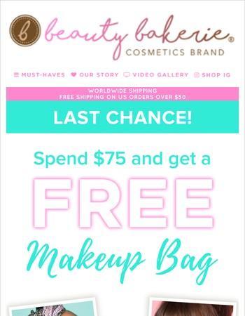 Last Chance! FREE Makeup Bag!
