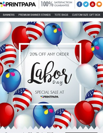 Labor Day Special!! Get 20% Off Any Order.