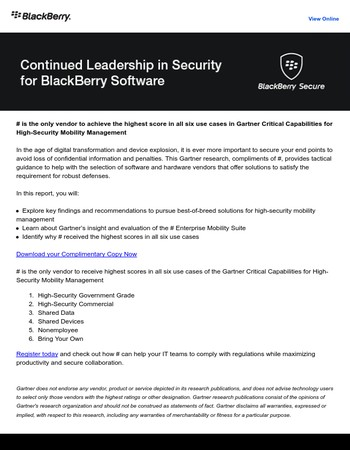 BlackBerry achieves highest score in all six use cases in Gartner's Critical Capabilities for High-Security Mobility Management