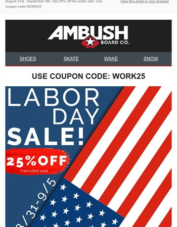 Labor Day Savings! Get 25% off Today-September 5th