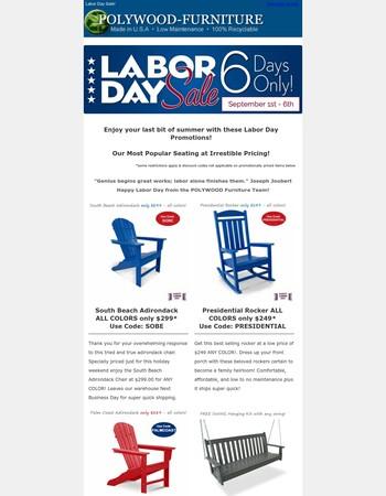Labor Day Sale! - Polywood Furniture ♻️