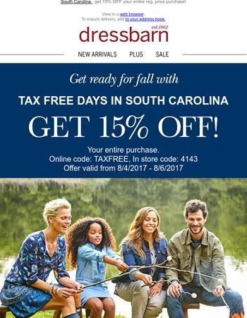 Bonus Tax-Free Day Savings Inside