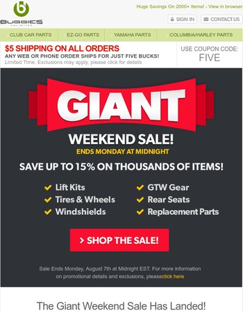 The Giant Weekend Sale Is Here! Up to 15% Off plus five dollar shipping