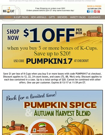 Pumpkin Spice is back! + Save big on K-Cups