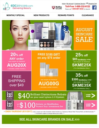 August Skincare Sale ★ 20-35% off or $100 Gift ★ Your Choice ★ While Supplies Last!