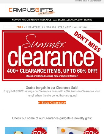 Half Price Gadgets in our Summer Sale Clearance!
