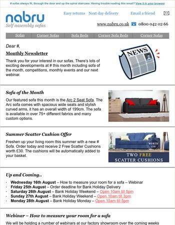Nabru Sofas - Monthly Newsletter