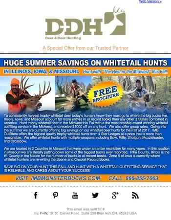 Huge Summer Saving on Whitetail Hunts in Illinois, Iowa & Missouri