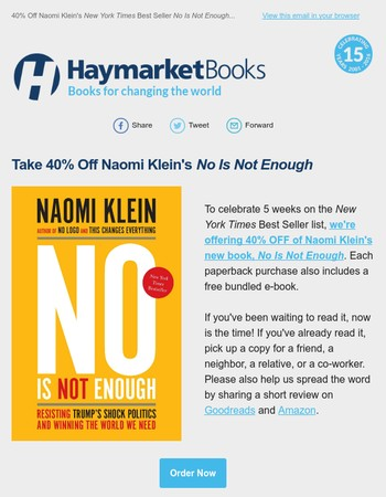 Take 40% OFF Naomi Klein's No Is Not Enough!