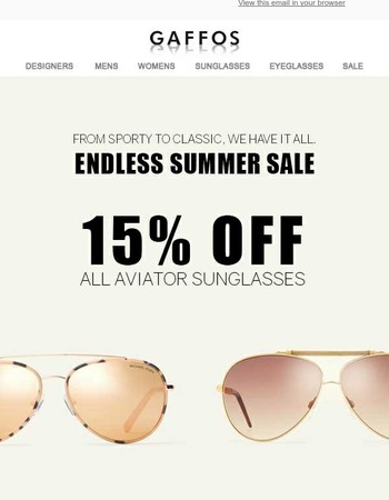 Endless Summer Sale - 15% off All Aviator Sunglasses