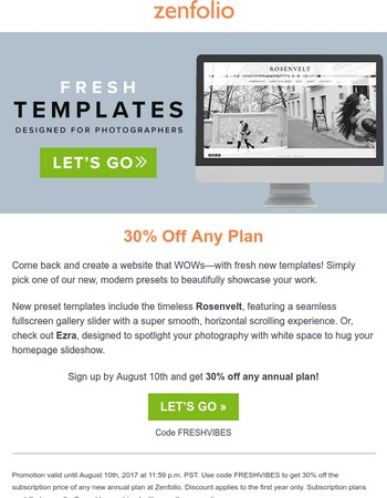 Fresh New Templates! Get a Website that WOWs - 30% Off