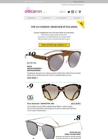 Top 10 Fashion, Designer sunglasses