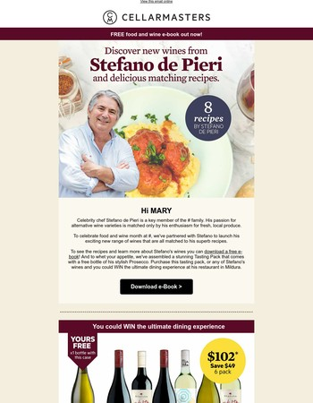 MARY, download your FREE Food & Wine eBook!