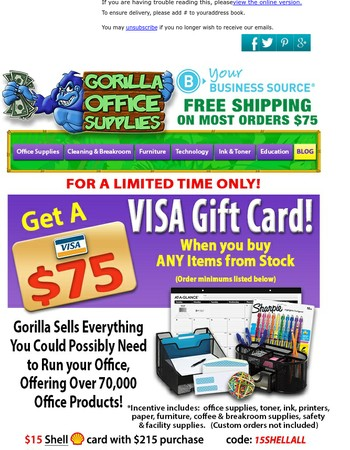 $75 Visa for purchasing ANYTHING from Gorilla!!