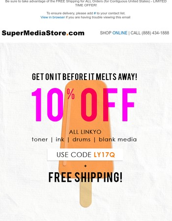 SUMMER SALE for ALL LINKYO Toner/Ink/Drum/Blank Media + FREE SHIPPING!