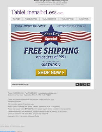Free Shipping For Labor Day! Shop Now!