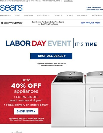 Up to HALF OFF 100s of tools + MAJOR appliance savings