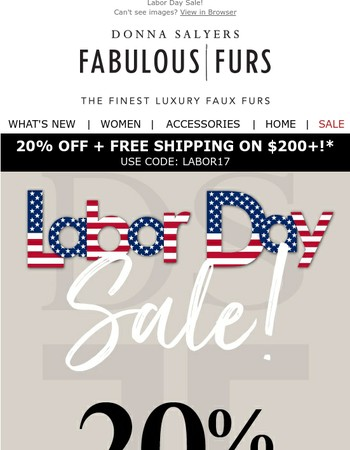 Labor Day Savings Begin Now! 20% Off + Free Shipping!