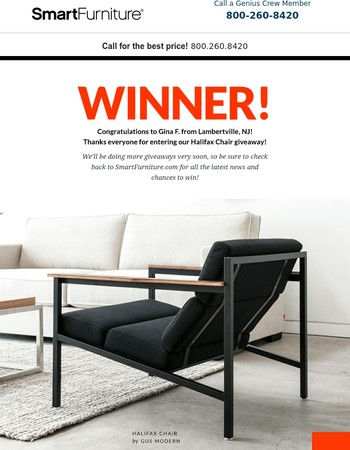 Announcing Our Halifax Chair Giveaway Winner!