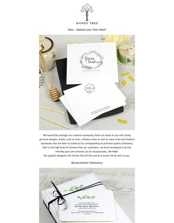 New: Upload your design and introducing ourBereavement stationery collection