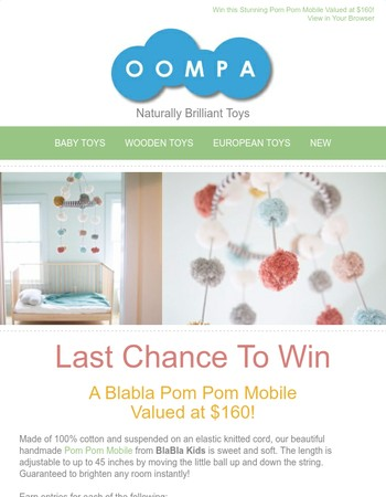 Last Chance ★  Win a Beautiful Pom Pom Mobile from Blabla Kids (Valued at $160)!