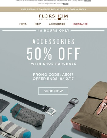 48 Hours Only – 50% Off Accessories!