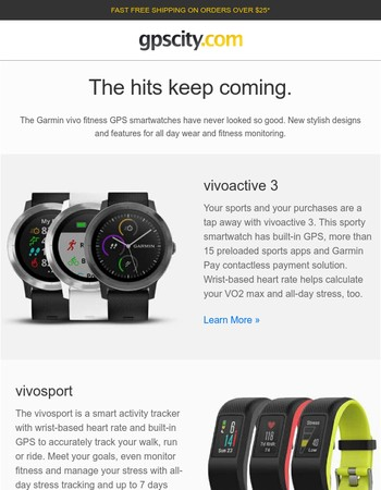 New from Garmin. Three new vivo fitness GPS smartwatches.