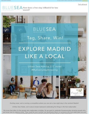 How does a free stay in Madrid for two sound?
