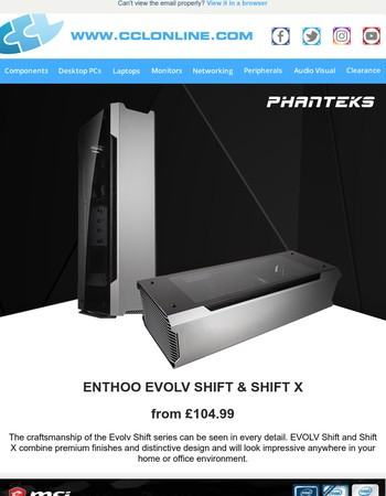 NEW Phanteks Evolv SHIFT Cases, MSI CASHBACK and More Great Deals & Offers at CCLOnline.com!