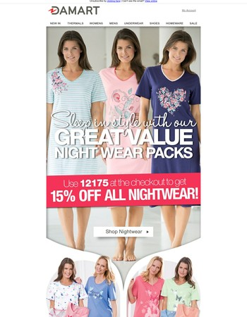 Cosy up with our value nightwear deals