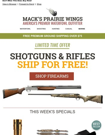 Select Firearms Ship For Free - Limited Time