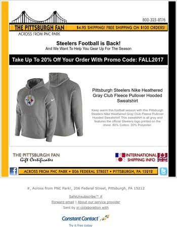 Gear Up For Steelers Football With Savings Up To 20% Off