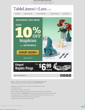 Extended this week! Save 10% on napkins now.Extended this week! Special discounts on all napkins. Look now.