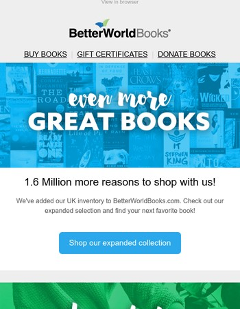 Even more books to love. Over a million titles added!